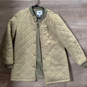 Old navy olive green quilted jacket, duster